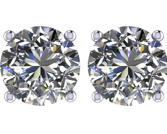 Other PLATINUM PLATED .925 SILVER SWAROVSKI CYSTRALS STUD EARRINGS Image 7