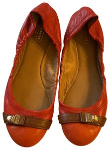 Coach Red with orange toes, and brown leather detail with buckle Flats