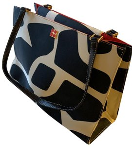 """Kate Spade Tote in Black, Tan, and """"Poppy"""" Red"""