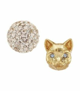 Kate Spade NWT KATE SPADE CAT AND PAVE SPHERE MISMATCHED STUDS EARRINGS W BAG