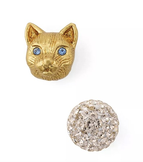 Kate Spade NWT KATE SPADE CAT AND PAVE SPHERE MISMATCHED STUDS EARRINGS W BAG Image 1
