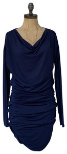 Athleta short dress blue Solstice Cowlneck Ruched Bodycon on Tradesy