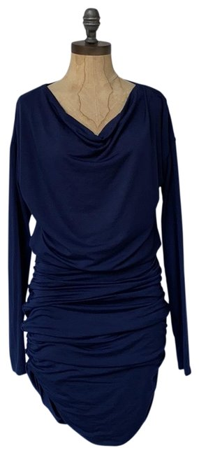 Athleta short dress blue Solstice Cowlneck Ruched Bodycon on Tradesy Image 0