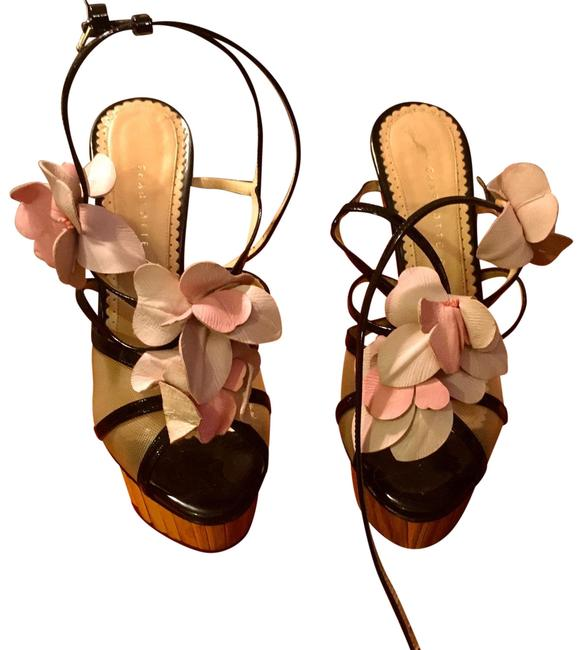 Item - Black with Leather Flowers In Pink and Light Colors Floral Platforms Size US 6.5 Narrow (Aa, N)