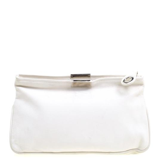 Jimmy Choo Leather Studded White Clutch Image 1