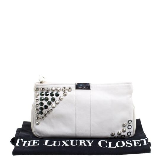 Jimmy Choo Leather Studded White Clutch Image 10