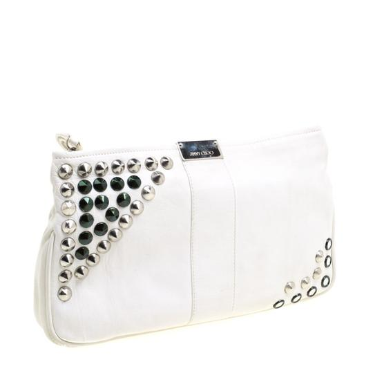 Jimmy Choo Leather Studded White Clutch Image 3