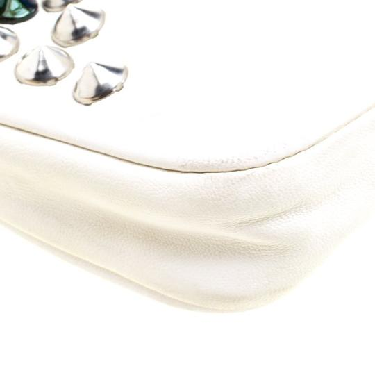 Jimmy Choo Leather Studded White Clutch Image 5