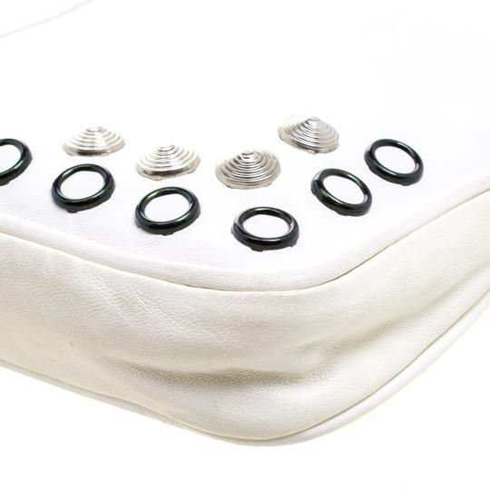 Jimmy Choo Leather Studded White Clutch Image 6