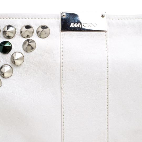 Jimmy Choo Leather Studded White Clutch Image 9