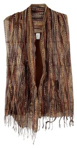Unbranded Boho Striped Fall Colors Scarf Vest