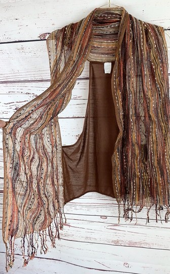 Unbranded Boho Striped Fall Colors Scarf Vest Image 1