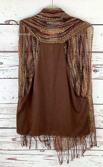Unbranded Boho Striped Fall Colors Scarf Vest Image 2