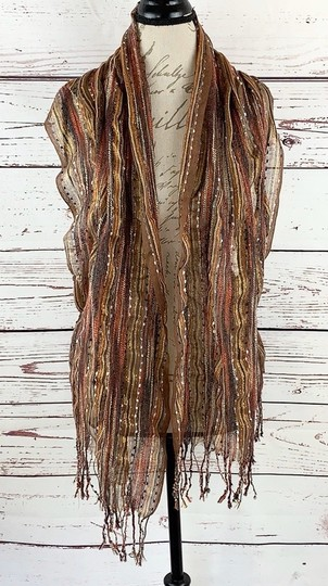 Unbranded Boho Striped Fall Colors Scarf Vest Image 5
