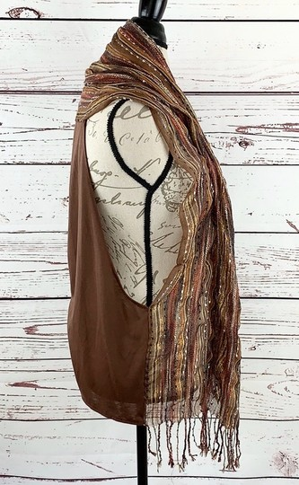 Unbranded Boho Striped Fall Colors Scarf Vest Image 6
