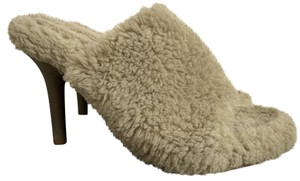 YEEZY Faux Fur Open Toe Mule Beige Pumps