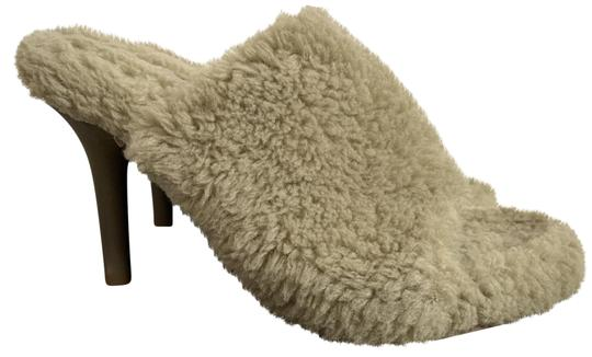 YEEZY Faux Fur Open Toe Mule Beige Pumps Image 0