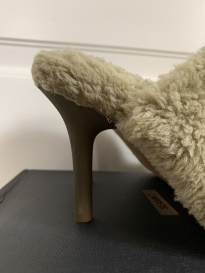 YEEZY Faux Fur Open Toe Mule Beige Pumps Image 6