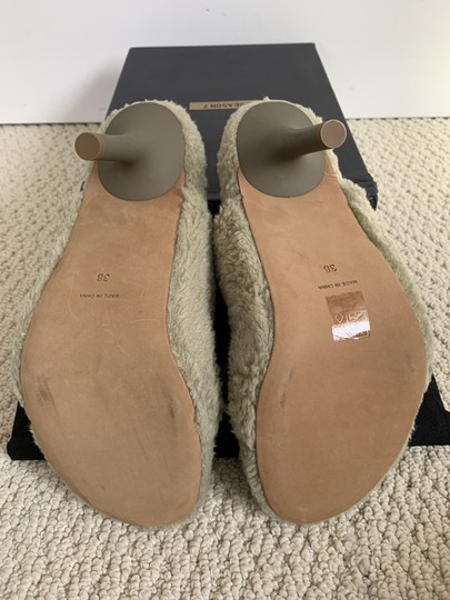 YEEZY Faux Fur Open Toe Mule Beige Pumps Image 7