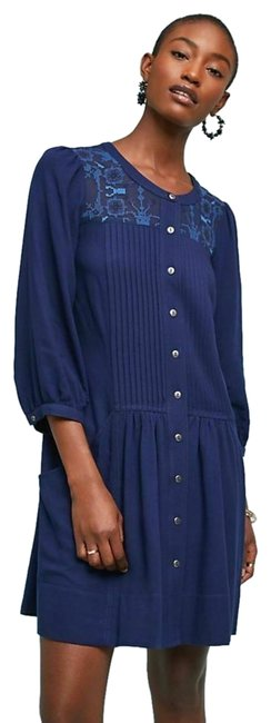 Preload https://img-static.tradesy.com/item/26263339/anthropologie-blue-dubois-button-down-embroidered-short-casual-dress-size-4-s-0-1-650-650.jpg