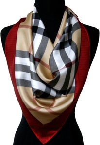 Burberry NEW Burberry Prorsum Classic Check Beige Red Border Silk Scarf Large
