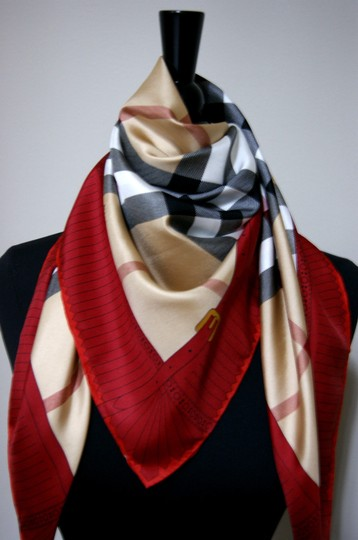 Burberry NEW Burberry Prorsum Classic Check Beige Red Border Silk Scarf Large Image 1