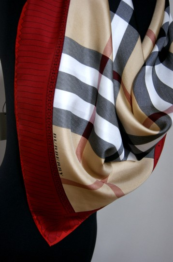 Burberry NEW Burberry Prorsum Classic Check Beige Red Border Silk Scarf Large Image 2