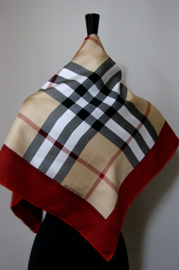 Burberry NEW Burberry Prorsum Classic Check Beige Red Border Silk Scarf Large Image 3