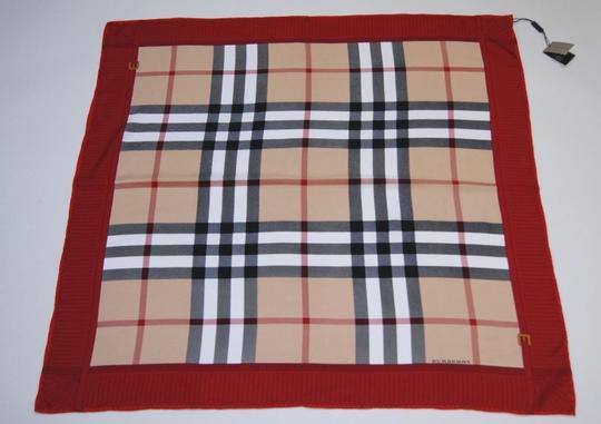 Burberry NEW Burberry Prorsum Classic Check Beige Red Border Silk Scarf Large Image 4