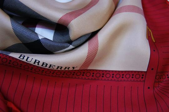Burberry NEW Burberry Prorsum Classic Check Beige Red Border Silk Scarf Large Image 5