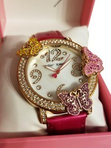 Betsey Johnson Betsey Johnson Pink And Rose Gold Tone Butterfly Crystal Bling Watch