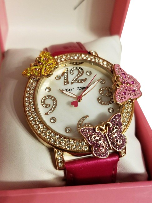 Item - Gold Tone Pink and Rose Butterfly Crystal Bling Watch