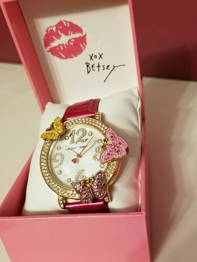 Betsey Johnson Betsey Johnson Pink And Rose Gold Tone Butterfly Crystal Bling Watch Image 1