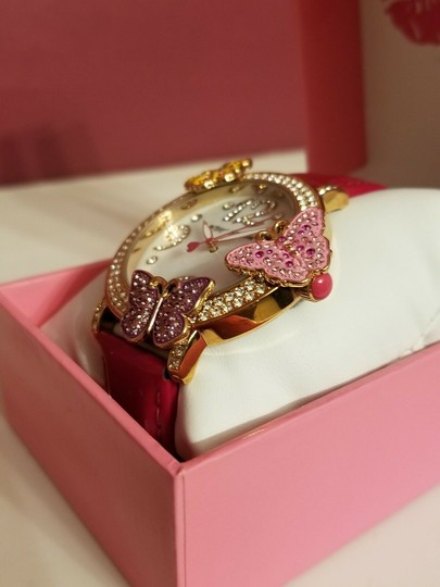 Betsey Johnson Betsey Johnson Pink And Rose Gold Tone Butterfly Crystal Bling Watch Image 2