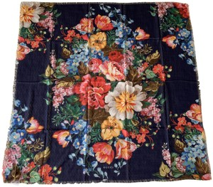 Gucci Josephine Navy Blue Multi Flora Floral Print Large Shawl Scarf Wrap