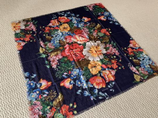 Gucci Josephine Navy Blue Multi Flora Floral Print Large Shawl Scarf Wrap Image 1