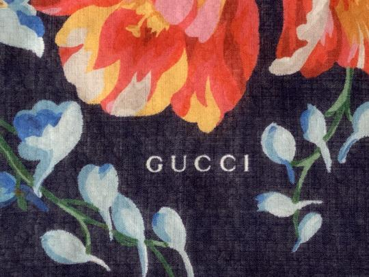 Gucci Josephine Navy Blue Multi Flora Floral Print Large Shawl Scarf Wrap Image 10