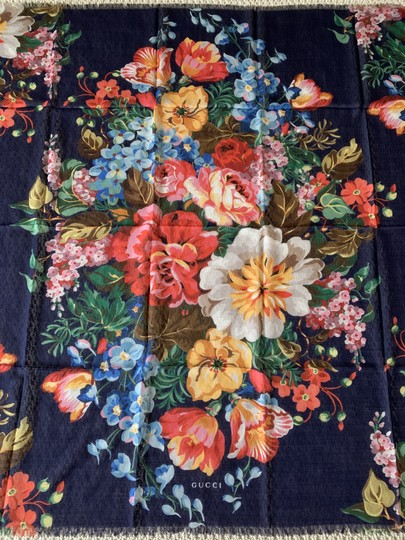 Gucci Josephine Navy Blue Multi Flora Floral Print Large Shawl Scarf Wrap Image 2