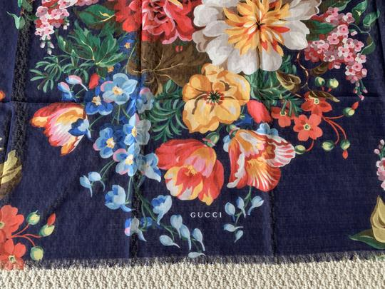 Gucci Josephine Navy Blue Multi Flora Floral Print Large Shawl Scarf Wrap Image 4