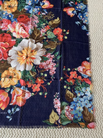 Gucci Josephine Navy Blue Multi Flora Floral Print Large Shawl Scarf Wrap Image 5