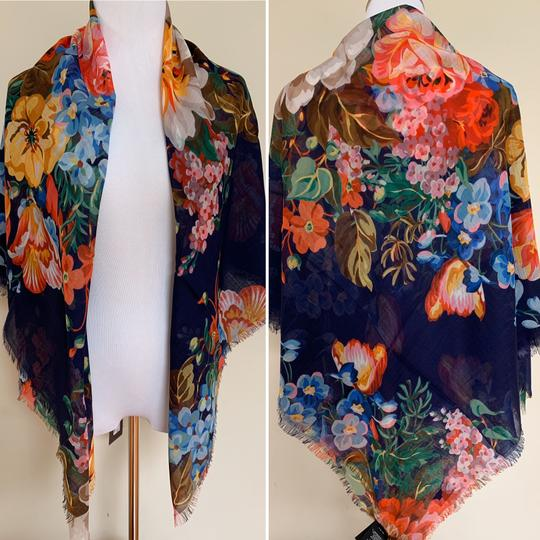 Gucci Josephine Navy Blue Multi Flora Floral Print Large Shawl Scarf Wrap Image 9
