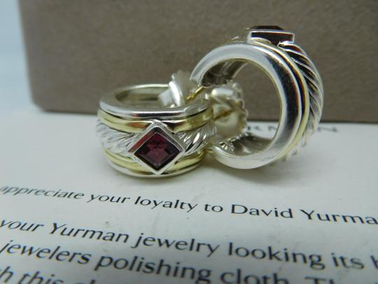 David Yurman David Yurman Pink Tourmaline Huggie Hoop Sterling Silver Earrings Image 1