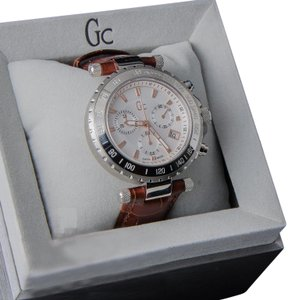 guess collection X58005G1S Diver Chic Men Brown Leather Bracelet With Silver