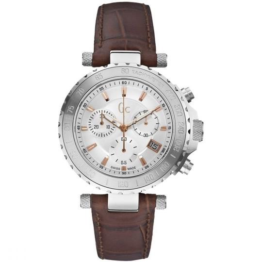 guess collection X58005G1S Diver Chic Men Brown Leather Bracelet With Silver Image 1