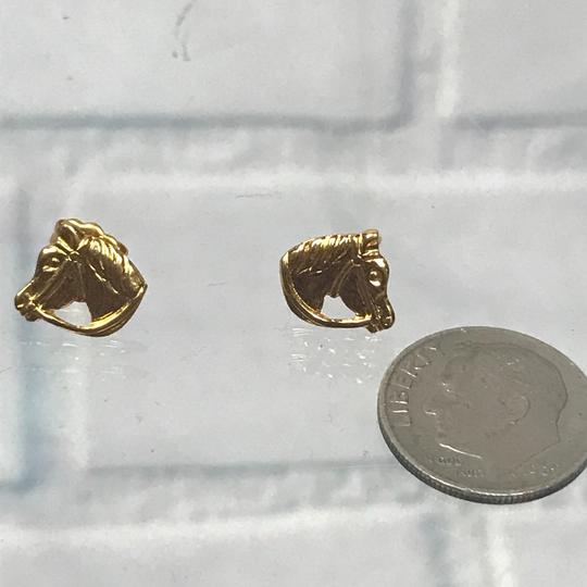 Simply Whispers Gold Tone Horse Head Dainty Stud Earrings Image 6