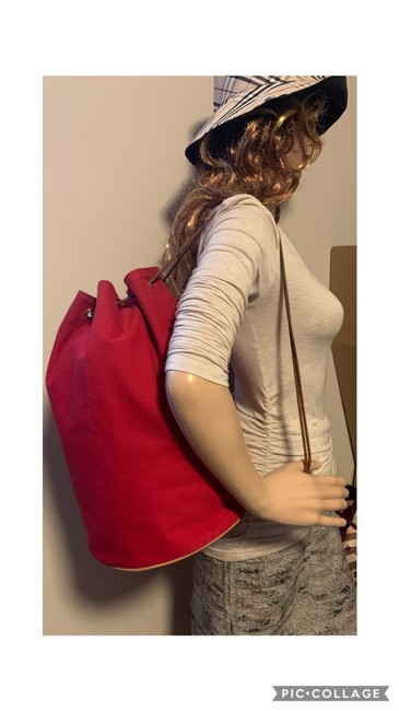 Item - Drawstring Red Canvas Backpack
