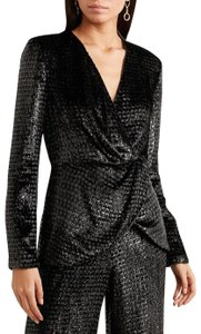 Brandon Maxwell Velvet Metallic Top Black