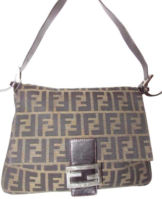 Item - 'mamma Zucca' Logo Print Canvas/Leather Envelope Flap Top Tobacco/Shades Of Brown Canvas and Leather Shoulder Bag