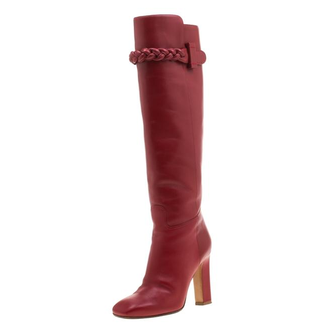 Item - Red Leather Braided Detail Knee Length Boots/Booties Size EU 37 (Approx. US 7) Regular (M, B)