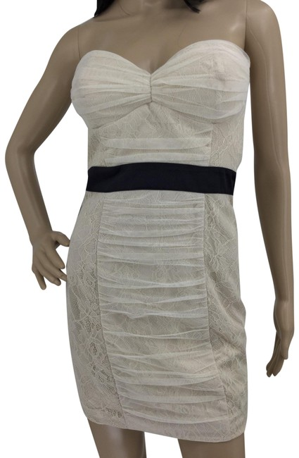 Item - Cream Shirred Lace Bustier Short Night Out Dress Size 2 (XS)